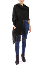 Load image into Gallery viewer, Oversized Two Pocket Shawl with Fringe - Just Jamie