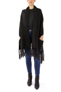 Oversized Two Pocket Shawl with Fringe - Just Jamie