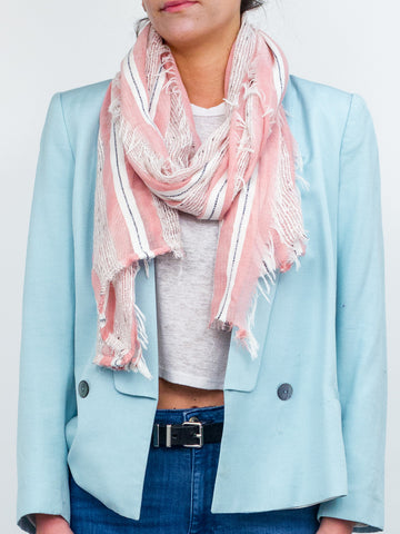 Striped Oversized Scarf with Frayed Ends