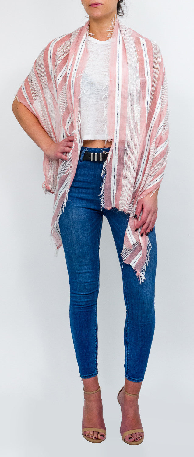 Striped Oversized Scarf with Frayed Ends - Just Jamie