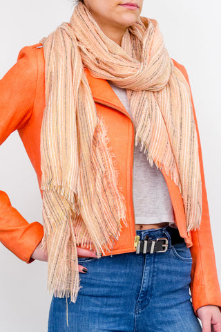 Tonal Striped Scarf with Lurex