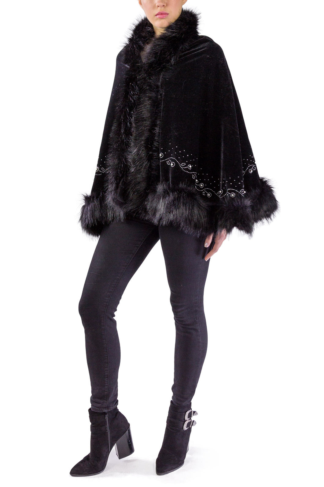 Velvet Faux Fur Shawl with Pearl and Rhinestone Border - Just Jamie