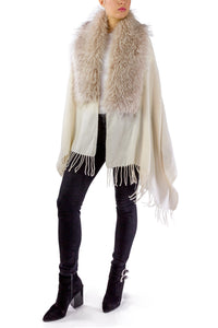 Solid Shawl with Oversized Faux Fur Border - Just Jamie