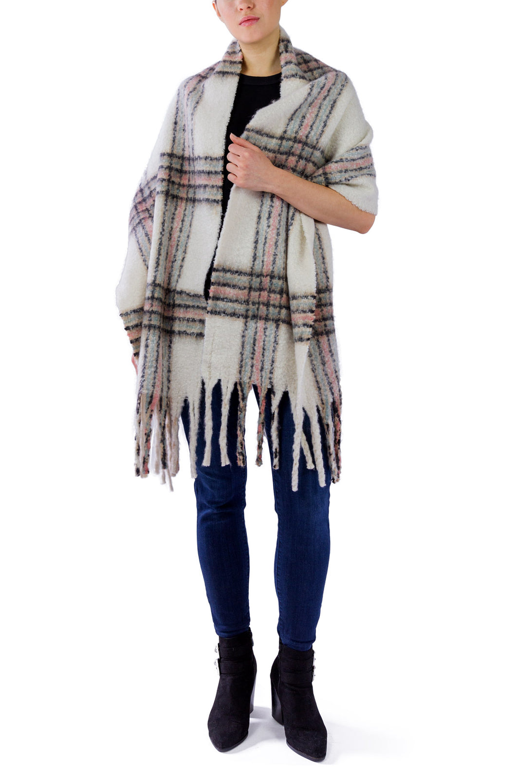 Plaid Noodle Fringe Scarf - Just Jamie