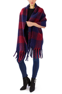 Buffalo Plaid Noodle Fringe Scarf - Just Jamie