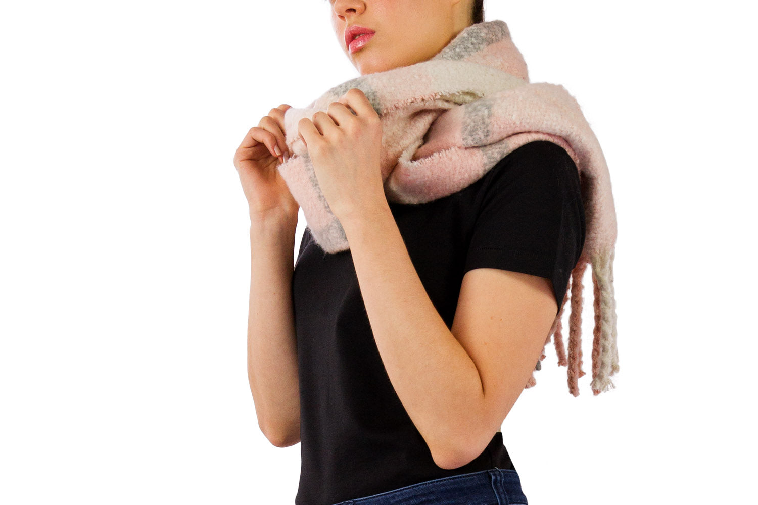 Plaid Boucle Noodle Fringe Scarf - Just Jamie