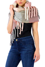 Load image into Gallery viewer, Colorblock Noodle Fringe Scarf - Just Jamie