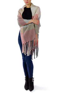 Colorblock Noodle Fringe Scarf - Just Jamie