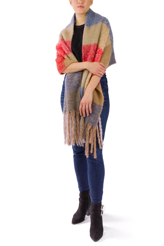 Colorblock Multi Noodle Fringe Scarf - Just Jamie