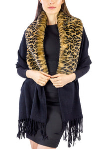 Solid Shawl with Oversized Faux Fur Mink Border - Just Jamie