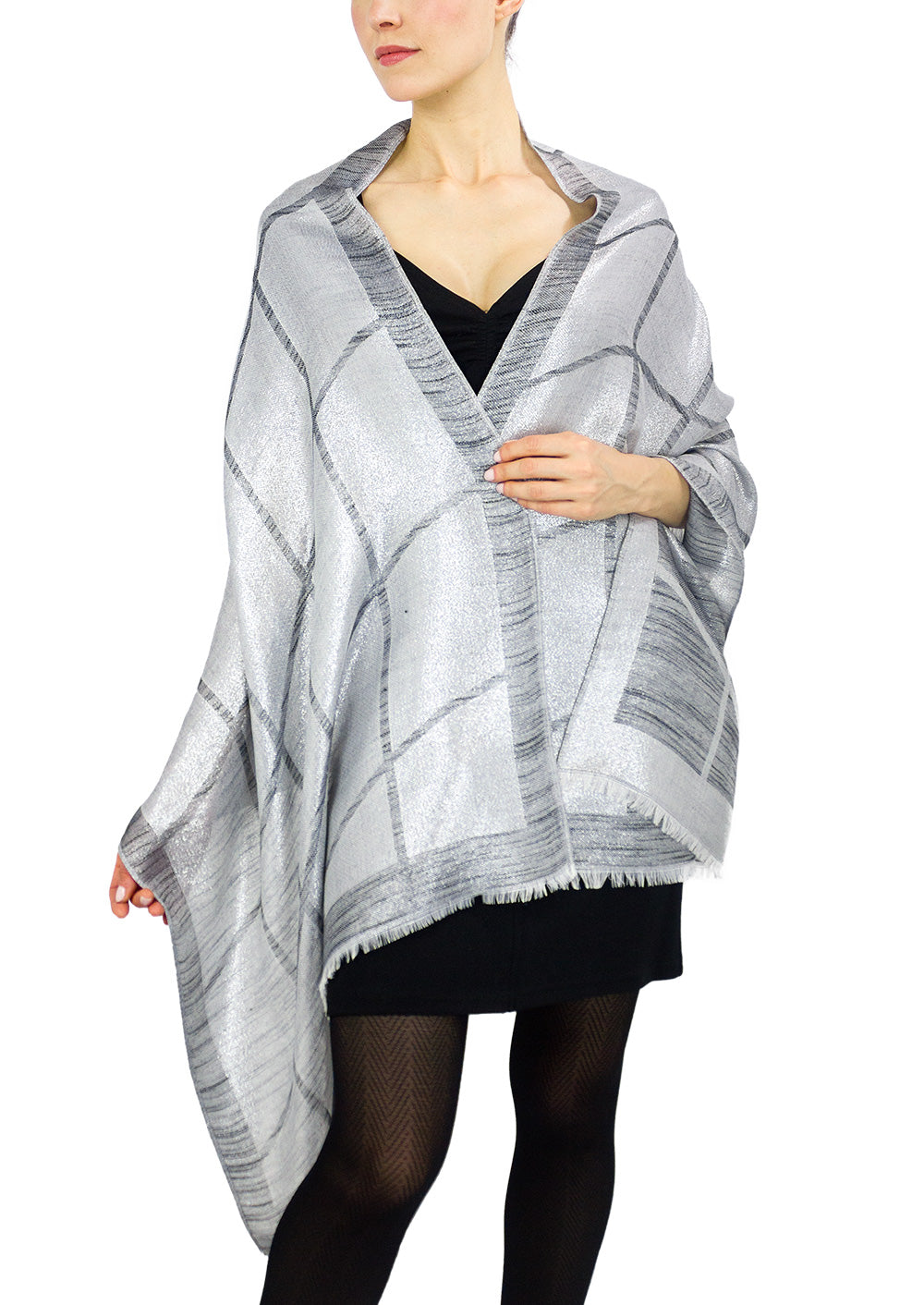 Metallic Striped Dressy Shawl - Just Jamie