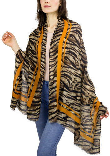 Animal Shawl with Striped Border - Just Jamie