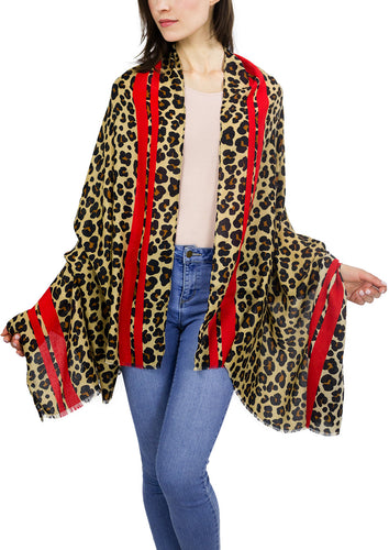 Leopard Shawl with Red Striped Border - Just Jamie