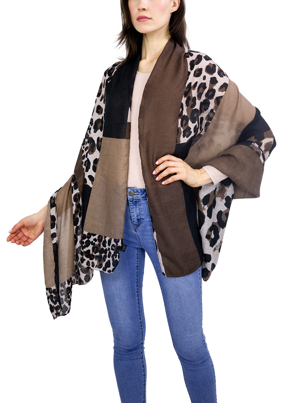 Colorblock Leopard Animal Shawl - Just Jamie
