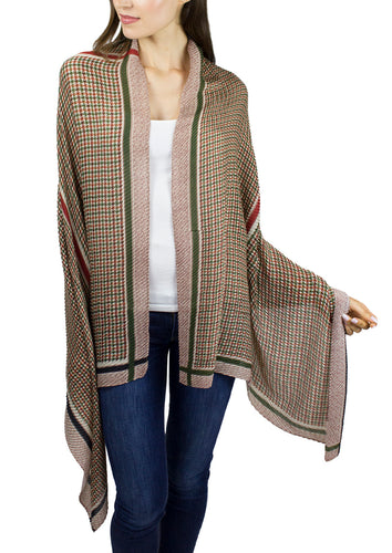Pleated Oversized Houndstooth Shawl with Stripe Border - Just Jamie