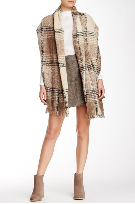 Plaid Boucle Blanket Wrap Oblong - Just Jamie