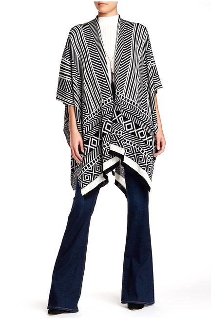 Geometric Stripe Print Knit Ruana - Just Jamie