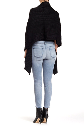Solid Cable Knit Belted Shawl with Pockets - Just Jamie