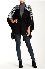 Houndstooth Colorblock Belted Ruana