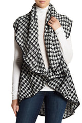 Houndstooth Circle Vest with PU Trim - Just Jamie