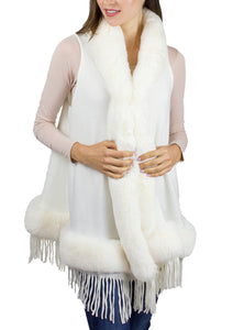 Faux Mink Trim Solid Hooded Vest with Fringe - Just Jamie