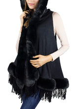 Load image into Gallery viewer, Faux Mink Trim Solid Hooded Vest with Fringe - Just Jamie
