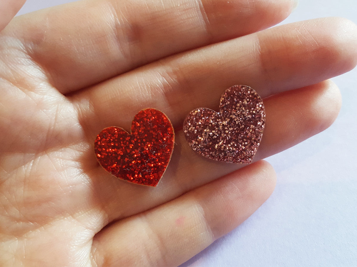 Heart Earrings (Glitter)