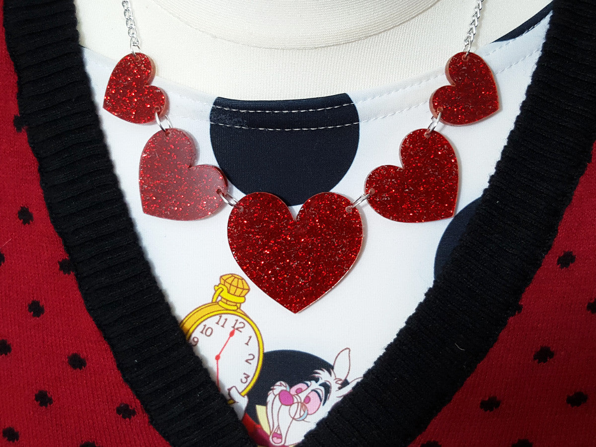 Heart String Necklace (red) - Glitterbomb - 2