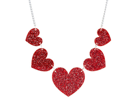 Heart String Necklace (red)