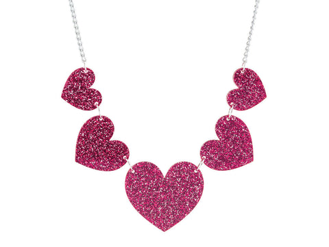 Heart String Necklace (pink)