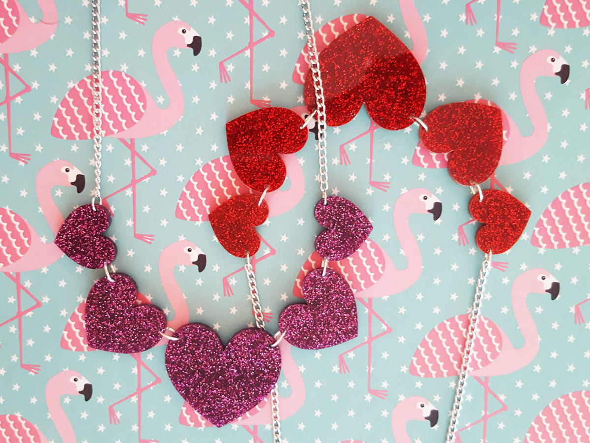 Heart String Necklace (red) - Glitterbomb - 3