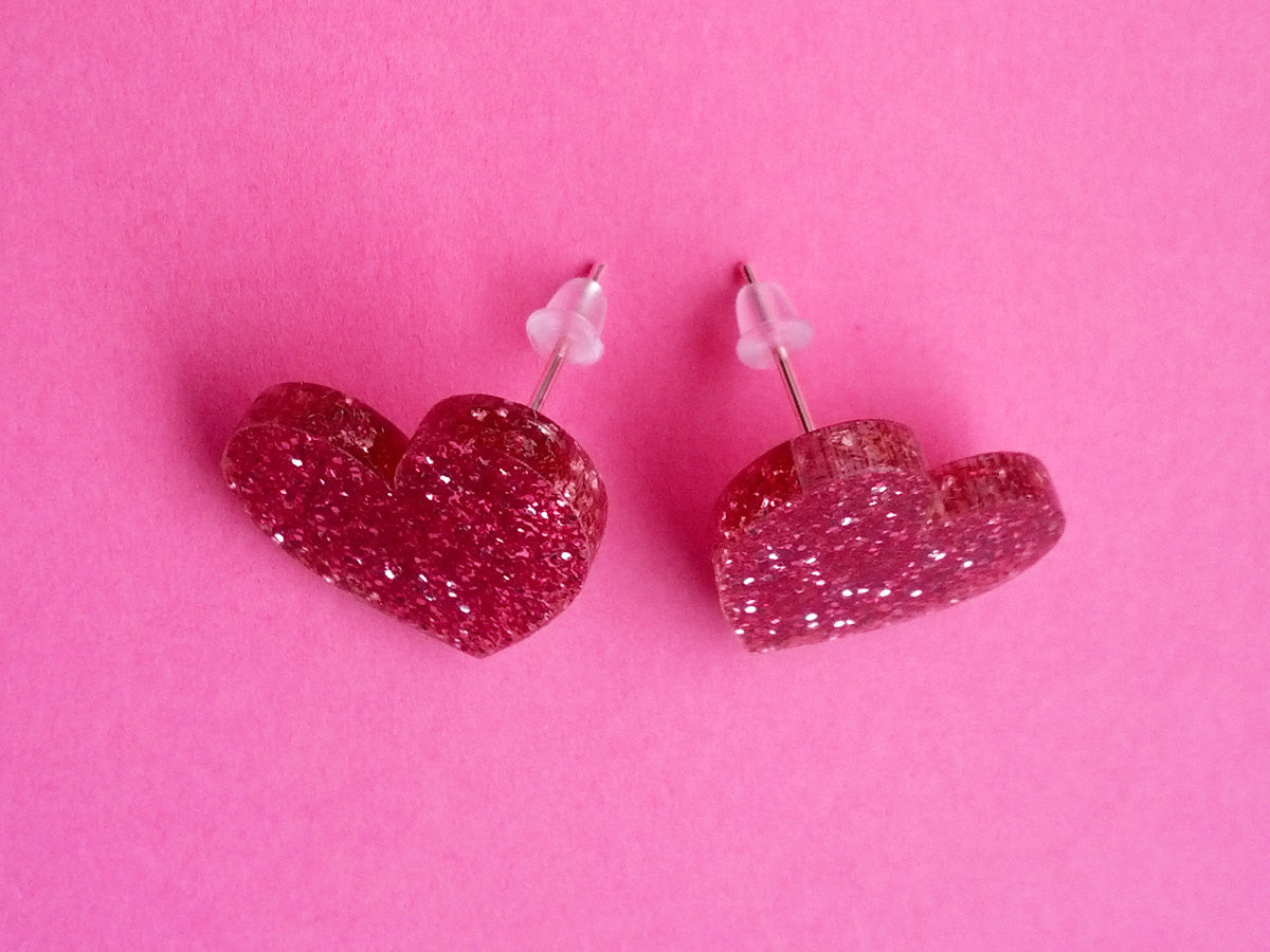 Glitter Hearts Earrings -  - 3