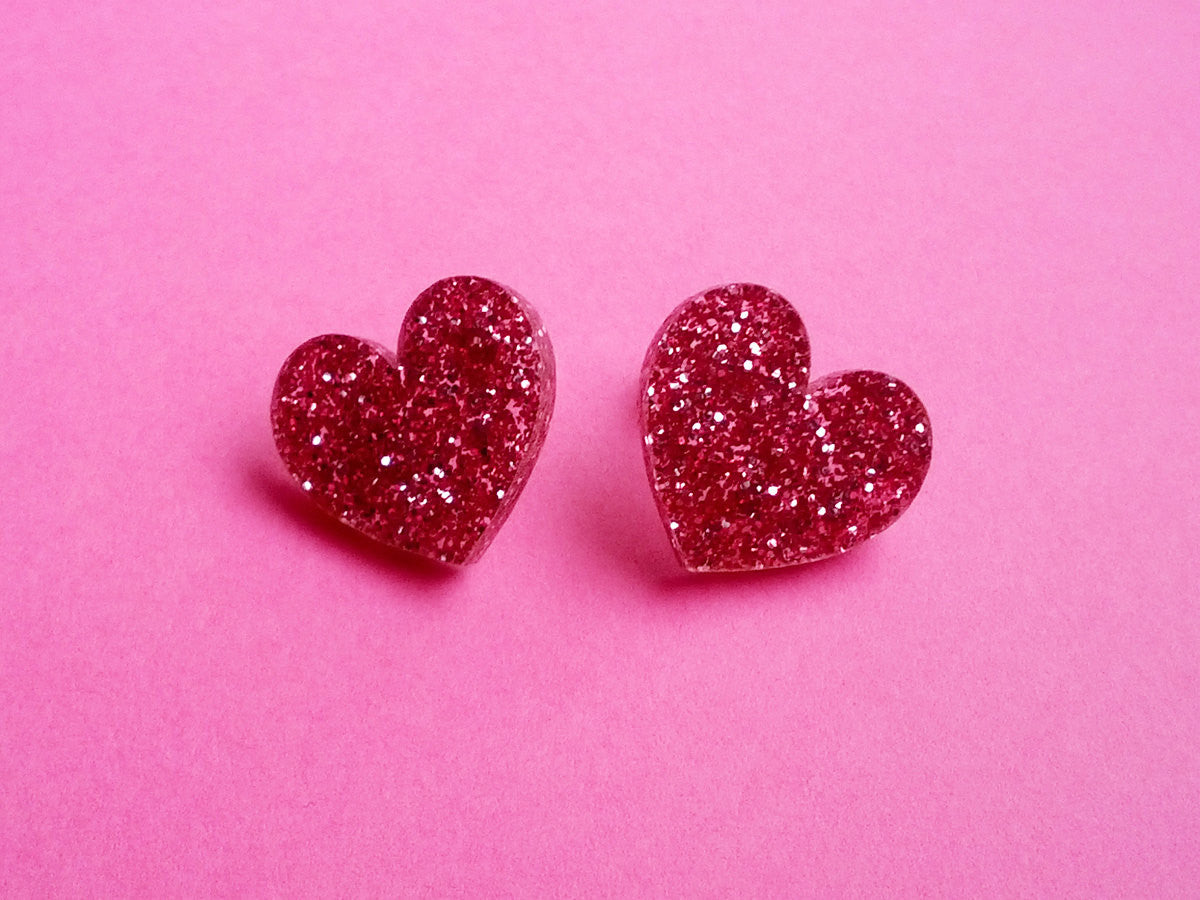 Glitter Hearts Earrings -  - 1