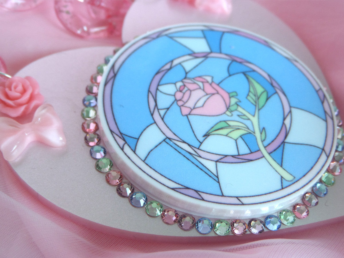 Stained Glass Rose Necklace -  - 2