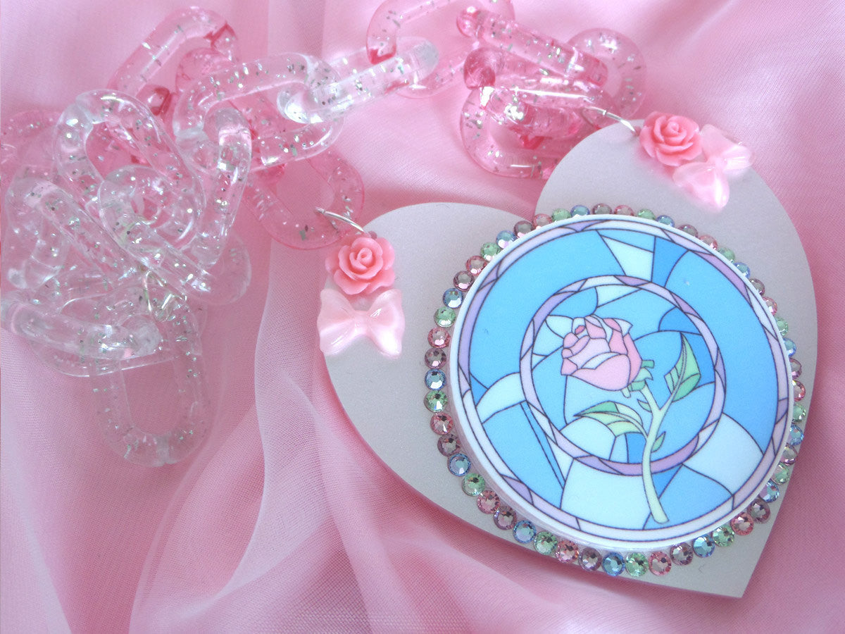 Stained Glass Rose Necklace -  - 1