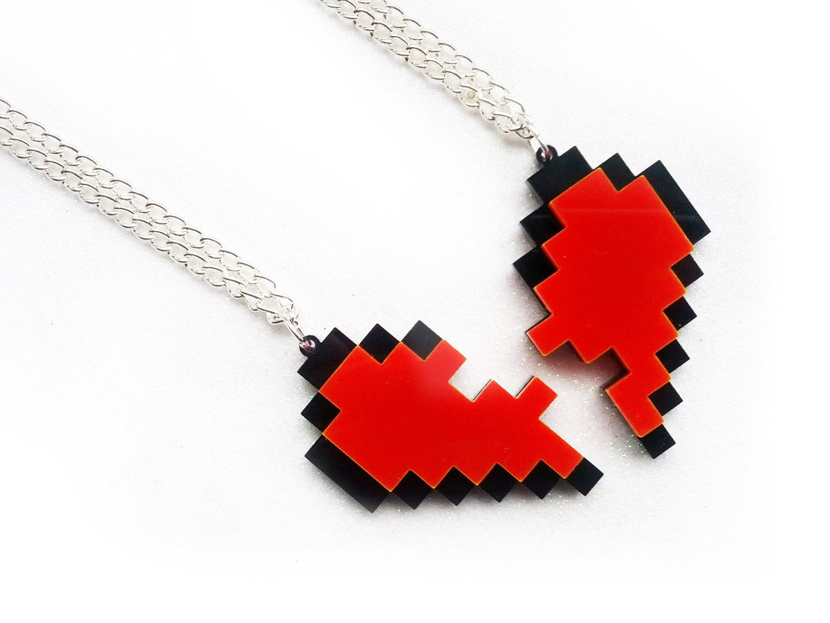 Pixel Heart Friendship Necklaces Set -  - 2