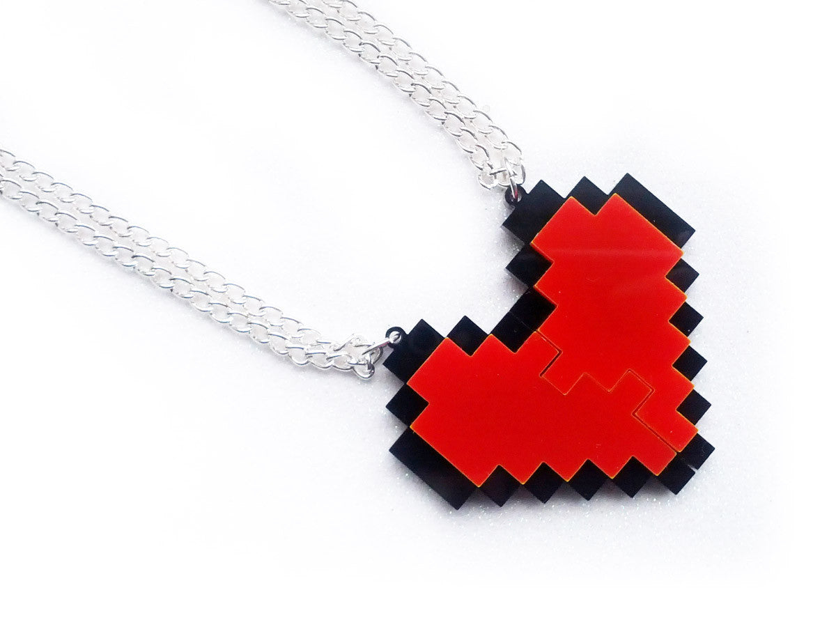Pixel Heart Friendship Necklaces Set -  - 1