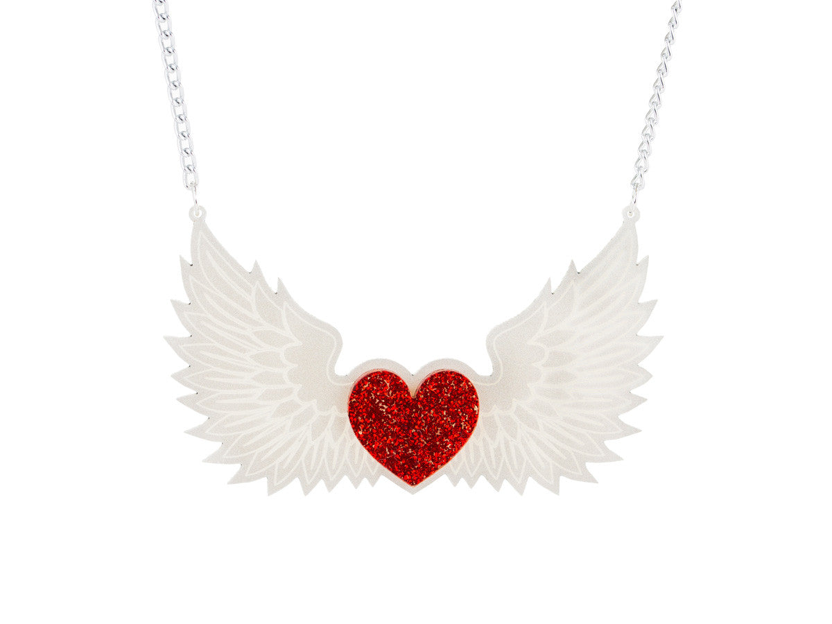 Winged Heart Necklace - Glitterbomb