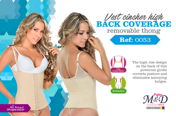 Vest cincher high back coverage removable thong Ref: 0053