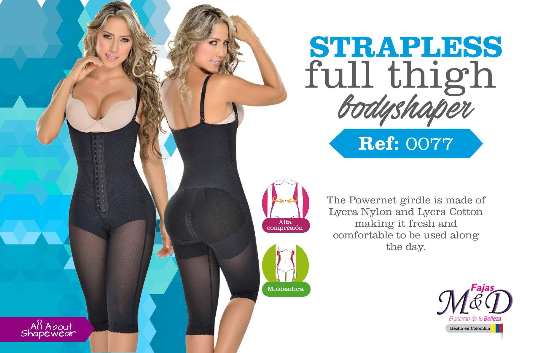 Strapless full thigh bodyshaper Ref: 0077