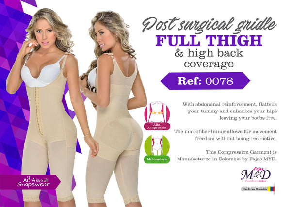 Post surgical girdle full thigh & high back coverage shapewear Ref: 0078