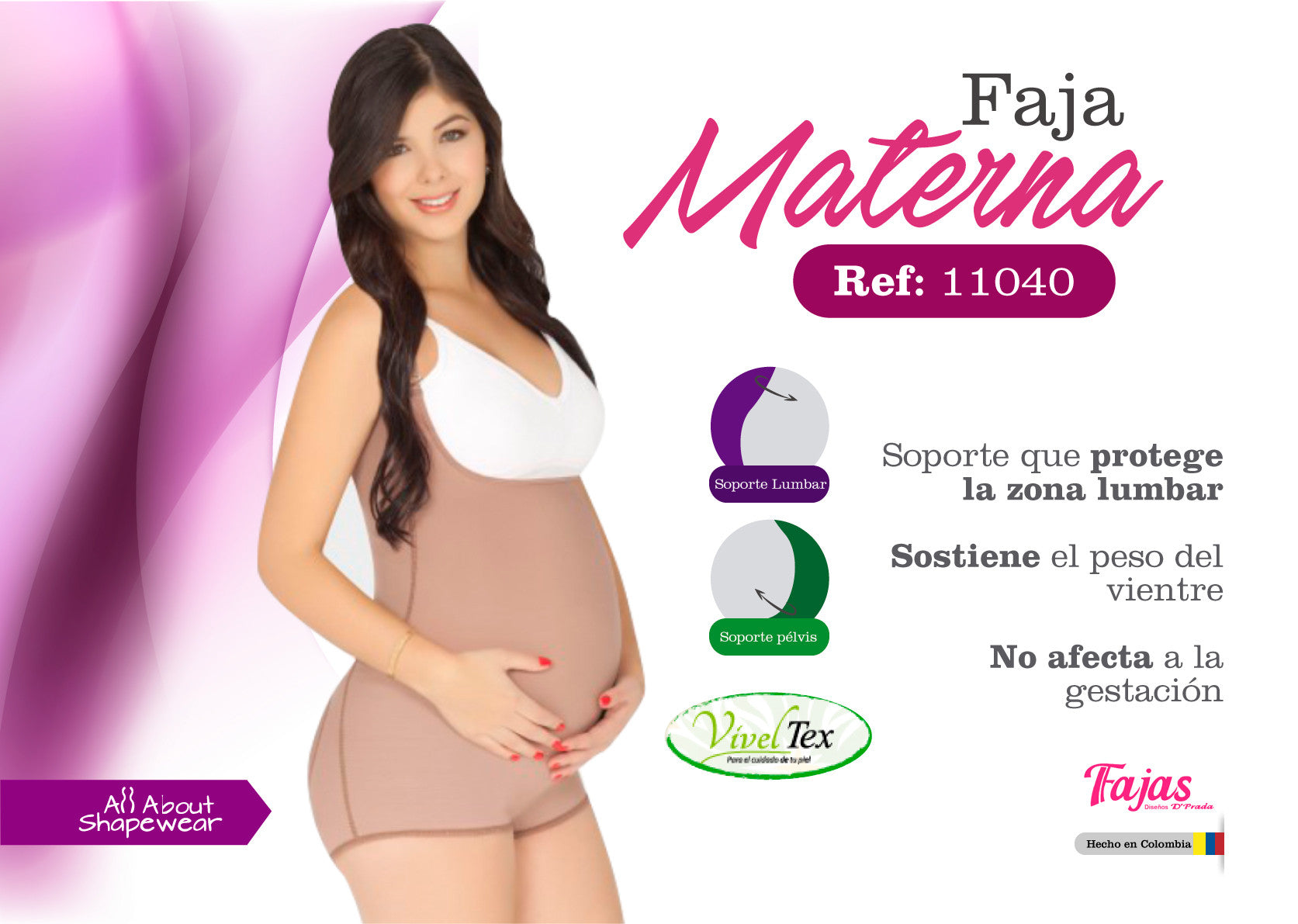 Faja materna estilo short con soporte - Maternal body girdle short style with pregnancy support Ref: 11040 D'Prada