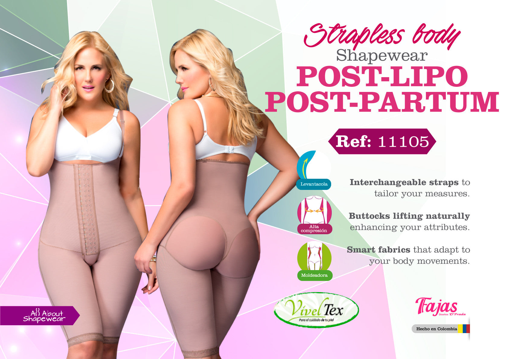 Strapless body shapewear post-lipo post-partum Ref: 11105