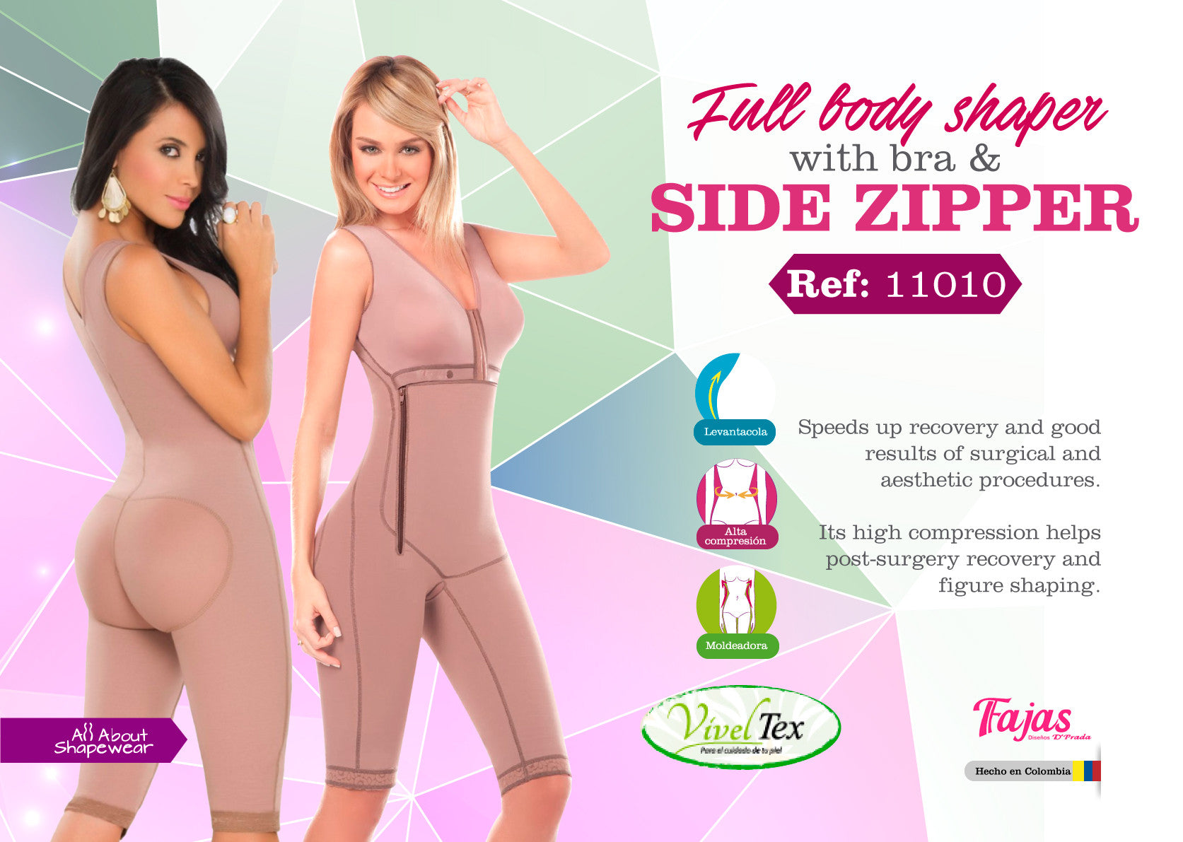 Full bodyshaper with bra side zipper Ref: 11010