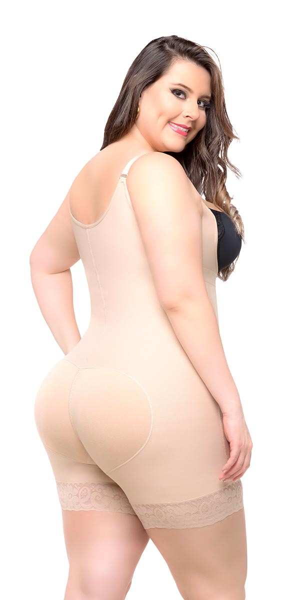 Fajas Colombianas Body Shaper Braless with a Sexy Lace Short & Thin Straps Ref - 036 - Fajas Colombianas Shapewear