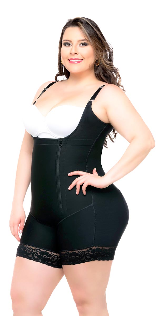 552a5bd55 Fajas Colombianas Body Shaper Braless with a Sexy Lace Short   Thin Straps  Ref - 036