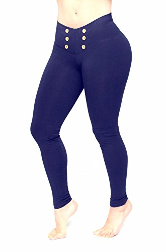Leggings For Woman Bon Bon Up Navy Blue with Gold Buttons in Front Leggings  Internal Body Shaper REF  1063