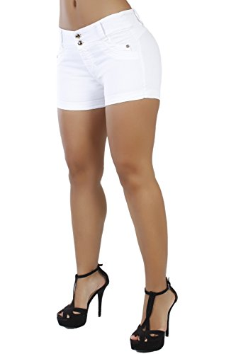 Pantalones Colombianos Curvify Butt Lift Stretch Sexy Jean Shorts for Women | Mid Rise Denim Shorts Levantacola White REF. 764 - Fajas Colombianas Shapewear