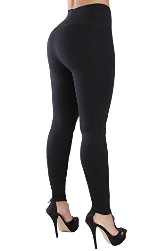 Curvify Womens Faux Leather Leggings, Butt Lifting Thigh Slimmers with High Rise Waist Control (1012 Black, 2XL) - Fajas Colombianas Shapewear