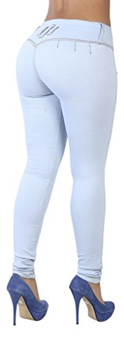 Pantalones Colombianos Curvify Premium Women's Enhanced Butt Liftting Skinny Jeans Light Blue REF. 765 - Fajas Colombianas Shapewear